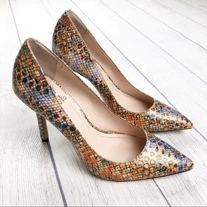 Vince Camuto Multi Color Snake Skin Print Pump 8